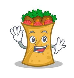 Waving kebab wrap character cartoon vector