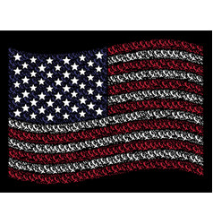 Waving usa flag stylized composition of falling vector