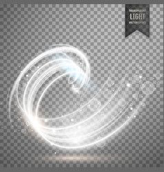 White transparent swirl light effect background vector