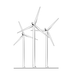 Wind turbines energy farm isolated black white vector