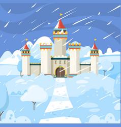 winter castle fairytale frozen building kingdom vector image