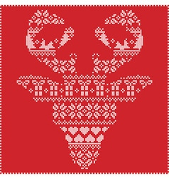 Winter pattern reindeer head frontal on red vector
