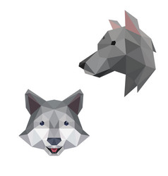 Wolf head with polygonal geometric style vector