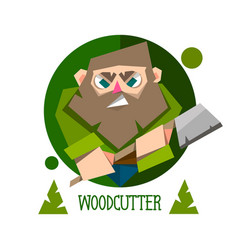 woodcutter bearded lumberjack character with an vector image