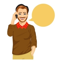 young hipster man talking on the mobile phone vector image vector image