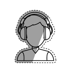 Young person with headphones vector image