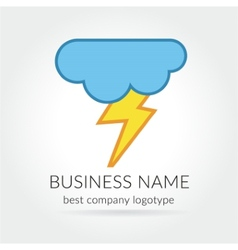 Colored lightning logo logotype with cloud for vector image