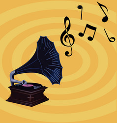 gramophone on retro background design vector image