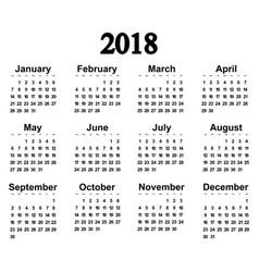 great new wall calendar 2018 vector image