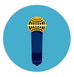 microphone icon on round blue background vector image vector image