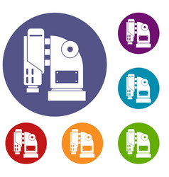 Pneumatic hammer machine icons set vector