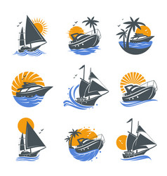 set of yacht icons vector image vector image