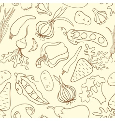 Simple doodle seamless pattern with vegetables vector image vector image