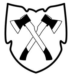 ax in shield icon vector image vector image