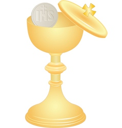 communion cup and host vector image