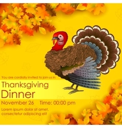 Happy Thanksgiving invitation card vector image vector image