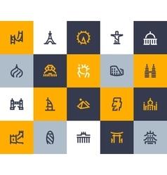 Landmarks icons Flat style vector image