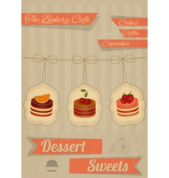 Retro Menu for the Cafe Pastry Shop vector image