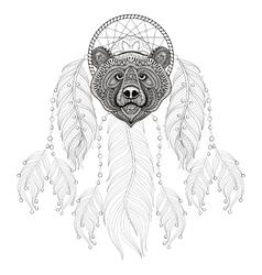 Hand drawn zentangle Dreamcatcher with Bear head vector image