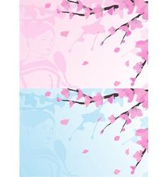 Asian background sakura cherry blossoms vector image vector image