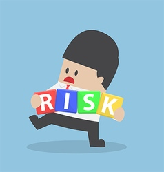 Businessman trying to manage risk block vector image