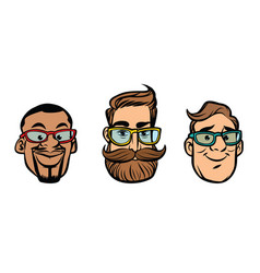 Head stylish guys hipsters multi-ethnic group vector