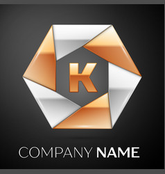 letter k logo symbol in the colorful hexagon on vector image vector image