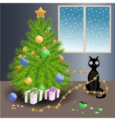 Naughty cat and Christmas tree vector image vector image