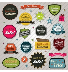 Sales price tags stickers and ribbons vector image