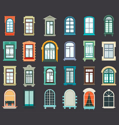 stone or plastic windows exterior view vector image vector image