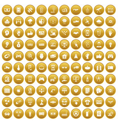 100 hi-tech icons set gold vector