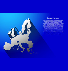Abstract map of european union with long shadow vector