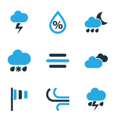 air icons colored set with overcast stormy snowy vector image