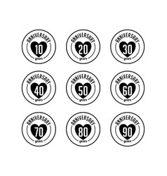 Anniversary badges collection vector