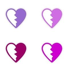 Assembly sticker bright heart broken into pieces vector