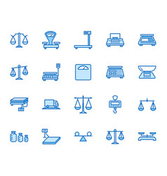 Balance flat line icons set weight measurement vector