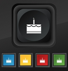 Birthday cake icon symbol set of five colorful vector