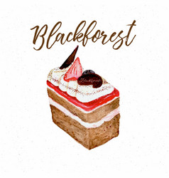 black forest cake hand draw sketch water color vector image