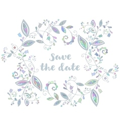 Blue greeting or save the date card vector image