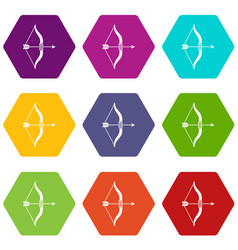 bow and arrow icon set color hexahedron vector image
