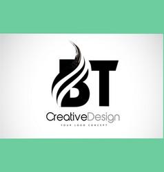 Bt b t creative brush black letters design vector