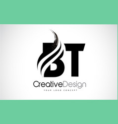 Bt b t creative brush black letters design with vector