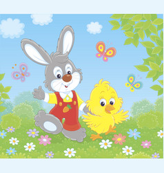 Bunny and chick among butterflies and flowers vector