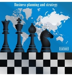 business strategy chess on world map vector image