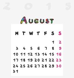 Calendar 2015 august vector
