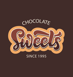 chocolate sweets shop logo label vector image
