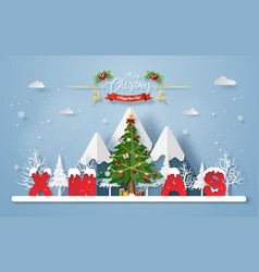 christmas tree with word xmas at mountain vector image