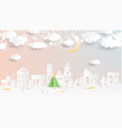 christmas village in paper cut style winter vector image
