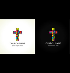 Church cross color vector