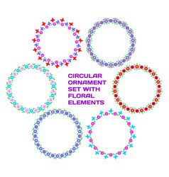circular ornament set with floral elements vector image